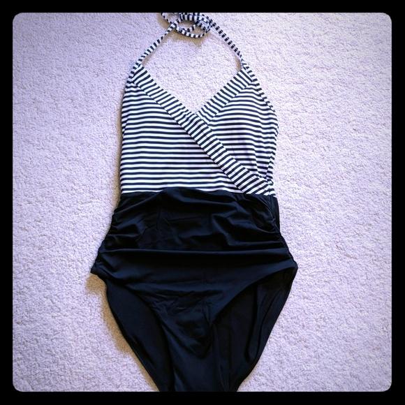 a8536a1417aee sunlab Swim   Stripe Wrap One Piece Suit   Poshmark